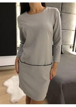 Szara Sukienka z Kieszeniami 2396-97-A Modnakiecka.pl   okazja  - kod rabatowy