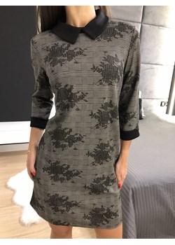 Sukienka w Kratę z Kołnierzykiem 3469-25 Modnakiecka.pl  promocyjna cena   - kod rabatowy