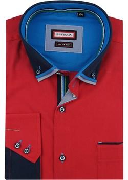 Koszula Męska Speed.A gładka czerwona SLIM FIT z podwójnym kołnierzykiem na długi rękaw  D844 Speed.A  swiat-koszul.pl promocyjna cena  - kod rabatowy