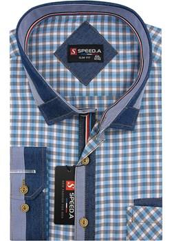 Koszula Męska Speed.A błękitna w kratkę z dodatkami jeans na długi rękaw duże rozmiary D873 Speed.A  swiat-koszul.pl - kod rabatowy