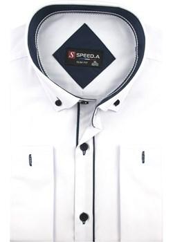 Koszula Męska Speed. A gładka biała SLIM FIT z mankietami na spinki D914 Speed.A  swiat-koszul.pl - kod rabatowy