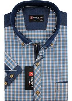 Koszula Męska Speed.A błękitna w kratkę z dodatkami jeans na krótki rękaw duże rozmiary K741  Speed.A swiat-koszul.pl - kod rabatowy