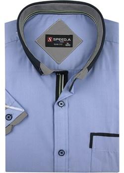 Koszula Męska Speed.A gładka niebieska SLIM FIT na krótki rękaw  K647  Speed.A swiat-koszul.pl okazja  - kod rabatowy