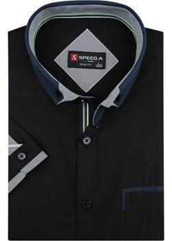 Koszula Męska Speed.A gładka czarna SLIM FIT na krótki rękaw  K645 Speed.A  okazyjna cena swiat-koszul.pl  - kod rabatowy