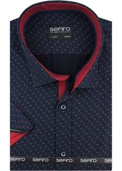 Koszula Męska Sefiro granatowa w bordowe wzorki SLIM FIT na krótki rękaw K781 Sefiro  swiat-koszul.pl - kod rabatowy