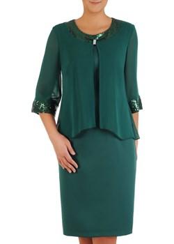 Wyszczuplająca sukienka z tkaniny, kreacja z szyfonową narzutką 23634 Modbis   - kod rabatowy