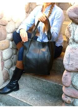 Skórzana czarna torebka/shopper/aktówka   wyprzedaż TrendyTorebki  - kod rabatowy