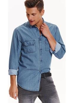 Koszula męska jeansowa z kieszeniami o regularnym kroju Top Secret  okazyjna cena   - kod rabatowy