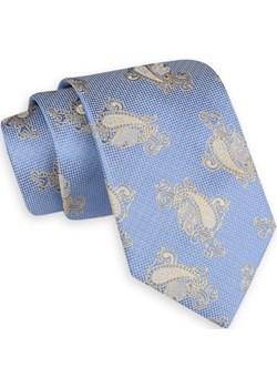 Niebiesko-Beżowy Szeroki Krawat -Angelo di Monti- 7 cm, Męski, Wzór Paisley, Łezki KRADM1663  Angelo Di Monti JegoSzafa.pl - kod rabatowy