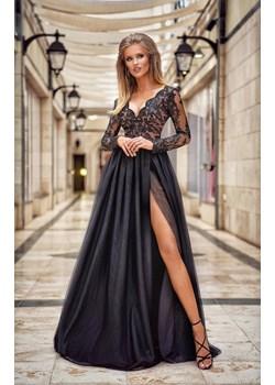 ADEL - długa suknia wieczorowa-czarno-beżowy Emo Sukienki  okazja Pawelczyk24.pl  - kod rabatowy