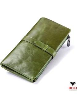 Portfel damski duży zielony skórzany Kavi`s  okazyjna cena portfel i nie tylko  - kod rabatowy