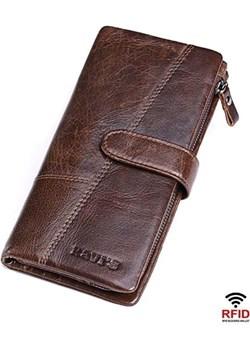 Portfel męski duży skórzany brązowy Kavi`s  promocyjna cena portfel i nie tylko  - kod rabatowy