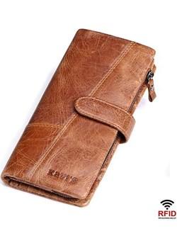 Portfel męski duży skórzany jasny brązowy  Kavi`s wyprzedaż portfel i nie tylko  - kod rabatowy