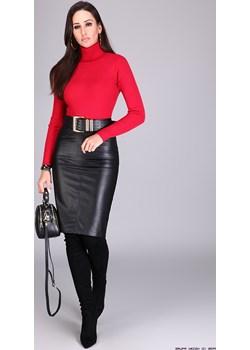 bluzka damska bluoltre ** prążkowana elastyczna bluzka z golfem czerwień  Bluoltre LUXURYONLINE - kod rabatowy