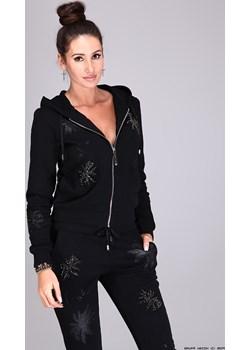 dres damski a.m.n milano ** czarny designerski dres+ kamienie+ kryształy  A.M.N Milano LUXURYONLINE - kod rabatowy