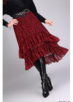 spódnica made in italy ** asymetryczna spódnica w leopardzie z pasem   LUXURYONLINE - kod rabatowy