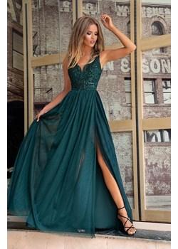 CHIARA - długa suknia wieczorowa-zielony  Emo Sukienki promocja Pawelczyk24.pl  - kod rabatowy