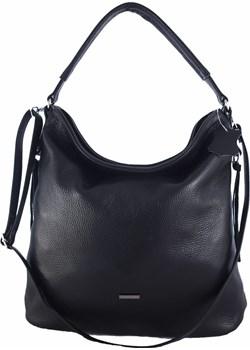 Skórzana czarna torebk/worek z blaszką   wyprzedaż TrendyTorebki  - kod rabatowy