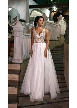 CHIARA - długa suknia wieczorowa-biało-beżowy  Emo Sukienki okazja Pawelczyk24.pl  - kod rabatowy