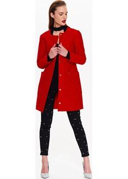 Płaszcz damski bez kołnierza ze strukturalnej tkaniny Top Secret czerwony okazyjna cena   - kod rabatowy