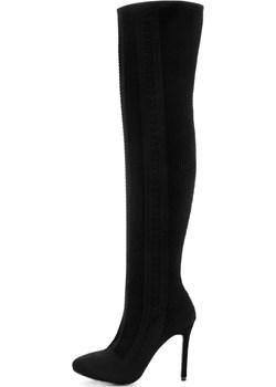 Czarne ażurowe kozaki za kolano ANOIA Primamoda czarny  promocja  - kod rabatowy
