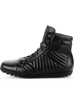 Czarne sportowe buty za kostkę ze skóry licowej NEGAR Primamoda okazja Primamoda - kod rabatowy