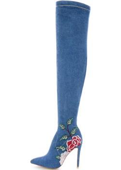 Jeansowe kozaki z kolorowym haftem GAIOLA Primamoda niebieski  - kod rabatowy