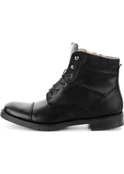 Czarne skórzane buty za kostkę czarny  Primamoda - kod rabatowy