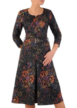Rozkloszowana sukienka na jesień, kreacja z zamkiem przy dekolcie 23662  Modbis  - kod rabatowy