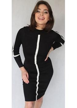 Czarna dopasowana dzianinowa sukienka z półgolfem MIRANDA Endoftheday  END OF THE DAY - kod rabatowy