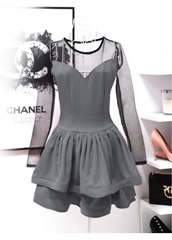 Rozkloszowana mini sukienka z tiulem MELANIE   promocja magmac.pl  - kod rabatowy