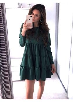 Trapezowa sukienka z falbankami LEXIE - butelkowa zieleń  Magmac magmac.pl - kod rabatowy