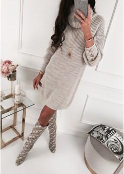 Sukienka - E145 beżowa  Ifriko.pl  - kod rabatowy
