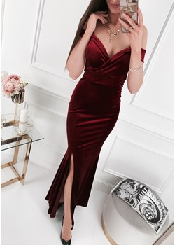 Sukienka - E189a bordowa Ifriko.pl   - kod rabatowy