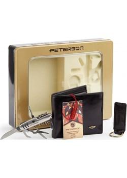 Zestaw prezentowy upominkowy męski dla niego portfel + brelok + scyzoryk Peterson   - kod rabatowy