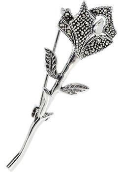Srebrna broszka róża z markazytami   monarti.pl - kod rabatowy
