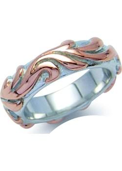 PIERŚCIONEK MORENA Srebrny pierścionek obrączka, pozłacany Braccatta rozowy  - kod rabatowy