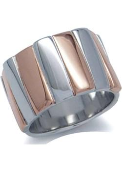PIERŚCIONEK ZEBRANO Srebrny pierścionek obrączka pozłacany Braccatta brazowy  - kod rabatowy