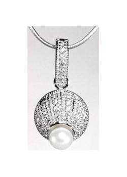 WISIOREK INKRUSTOWANY Srebrny wisiorek z perła i cyrkoniami szary Braccatta promocja   - kod rabatowy