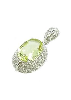 WISIOREK PRZEPYCH ORIENTU Srebrny wisiorek z kwarcem lemon i cyrkoniami zielony Braccatta  - kod rabatowy
