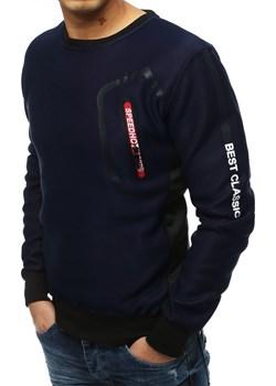 Bluza męska bez kaptura granatowa (bx4253) Dstreet  okazyjna cena   - kod rabatowy