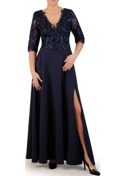 Kopertowa sukienka maxi, kreacja z koronkowym topem 23108 Modbis   - kod rabatowy