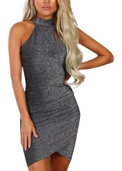 Czarna sukienka ze srebrną, błyszczącą nitką  Estera DAFNIS - kod rabatowy