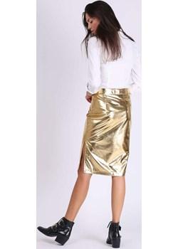 Złota Ołówkowa Spódnica z Błyszczącej Tkaniny z Rozporkiem Nommo  Coco-fashion.pl  - kod rabatowy