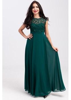 Sukienka z szyfonu z koronką na podszewce Zielona   Butik Ecru - kod rabatowy