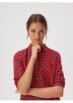 Sinsay - Bawełniana koszula w kratę - Czerwony  Sinsay  - kod rabatowy