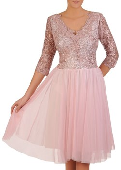 Rozkloszowana sukienka na wesele, kreacja z koronki i tiulu 22999 Modbis   - kod rabatowy