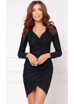 Brokatowa sukienka mini w czarnym kolorze   DAFNIS - kod rabatowy