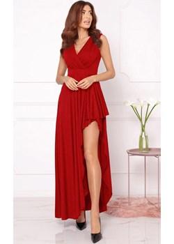 Czerwona maxi sukienka z brokatem Estera okazyjna cena DAFNIS - kod rabatowy