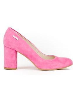 czółenka - skóra naturalna - model 042 - kolor różowy nubuk  Zapato zapato.com.pl - kod rabatowy